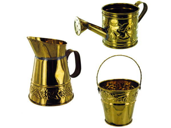 asst brass deco (watering can, pitcher, pail)
