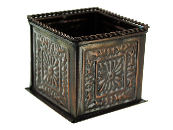 square bronze planter decor (2.5 x 2.75 x 2.75 inches)