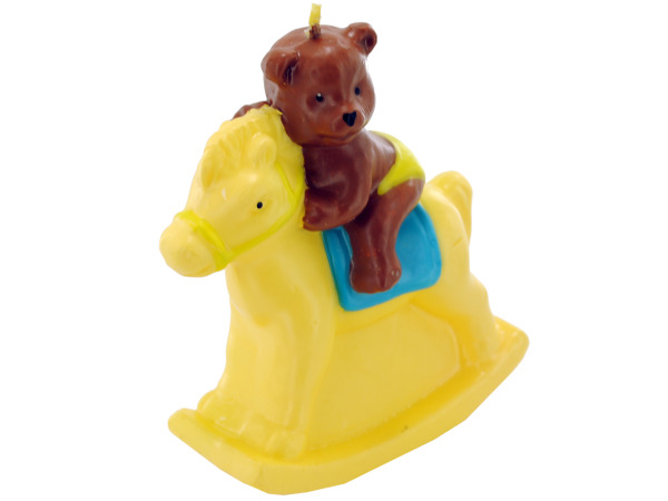 3.5 Inch x 4 Inch Bear On Rocking Horse Candle