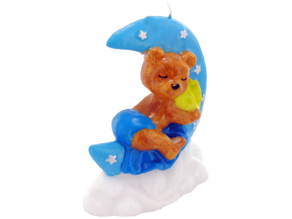 3.5 Inch x 4 Inch Blue Sleeping Bear Candle