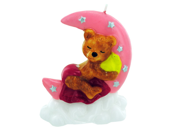 3.5 Inch x 4 Inch Pink Sleeping Bear Candle