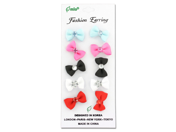 Bow earrings, card with five pair
