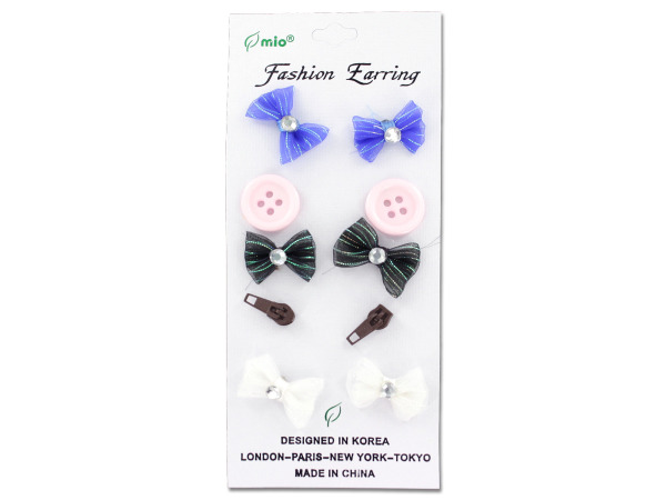 Fashion earrings, pack of 5