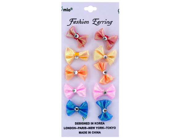 5 pair bow w/gem earrings assorted colors