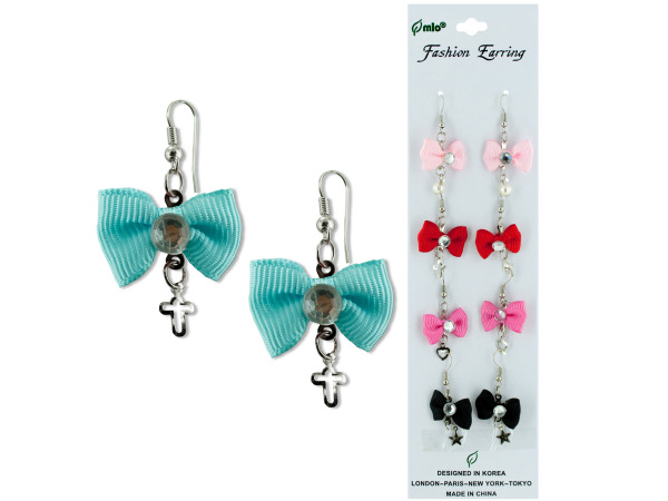 5 pair bow w/gem dangle earrings assorted colors