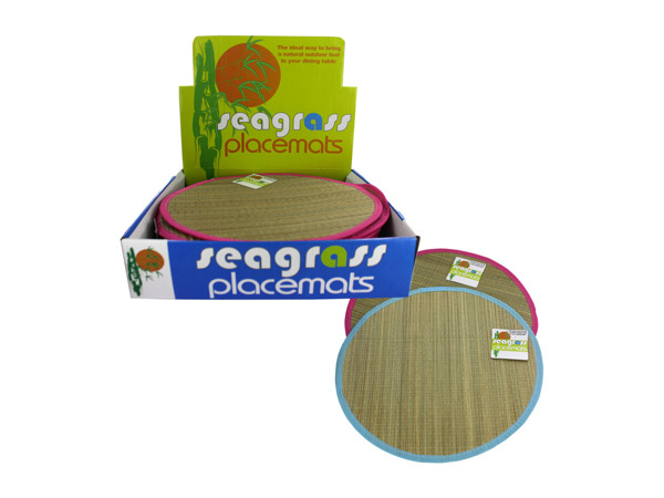 Round seagrass placemat display