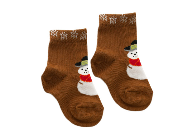 Brown Snowman Baby Socks Set for 1-2 Years