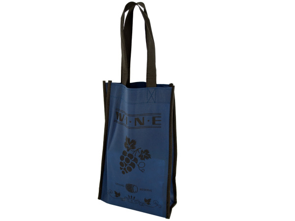 Blue Wine Bottle Carry Bag with Two Sections