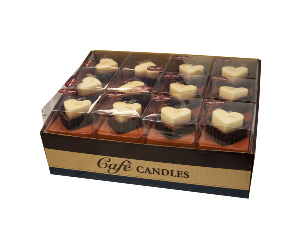 White Chocolate Hearts Scented Candles Counter Top Display