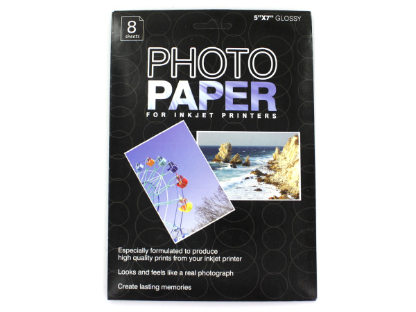 5 x 7 photo paper for inkjet printers, package of 8 sheets