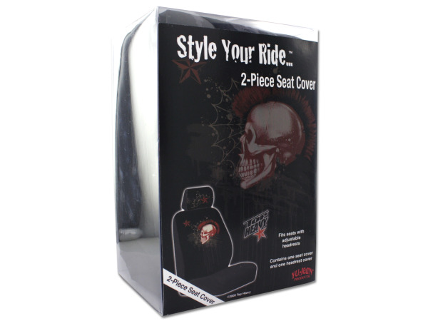 Mohawk skull 2-piece seat cover
