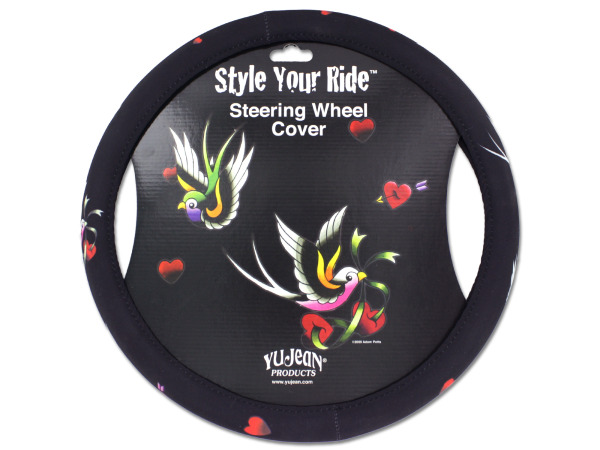 Tattoo-style steering wheel cover