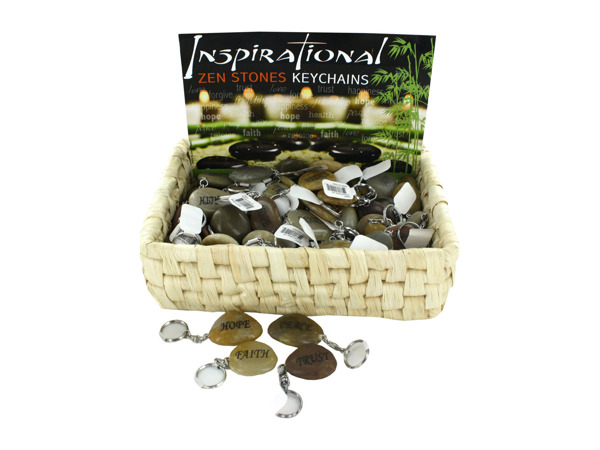 Inspirational Zen Stones Keychains Counter Top Display