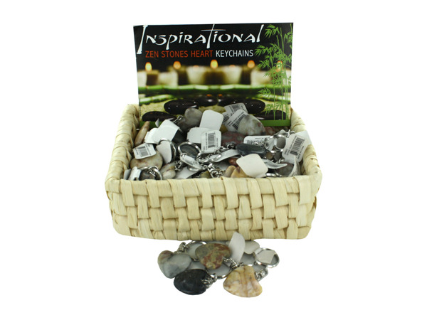 Stone Heart Key Chains Counter Top Display