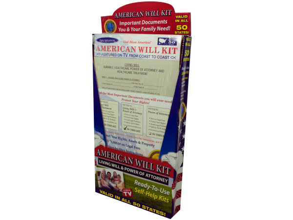 American living will and power of attorney kit display