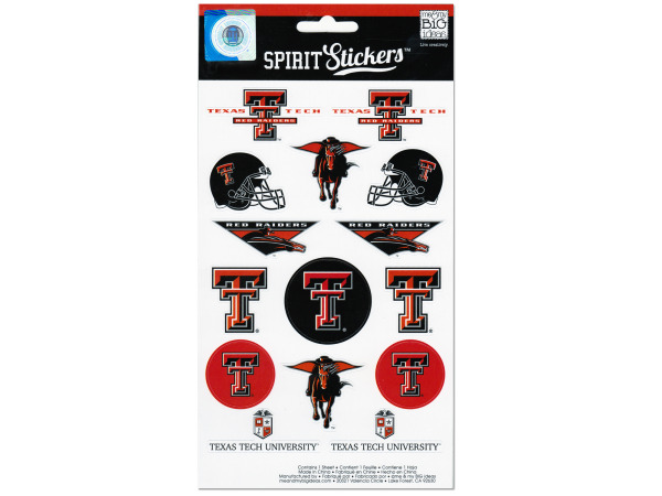 texas tech university red raiders spirit stickers