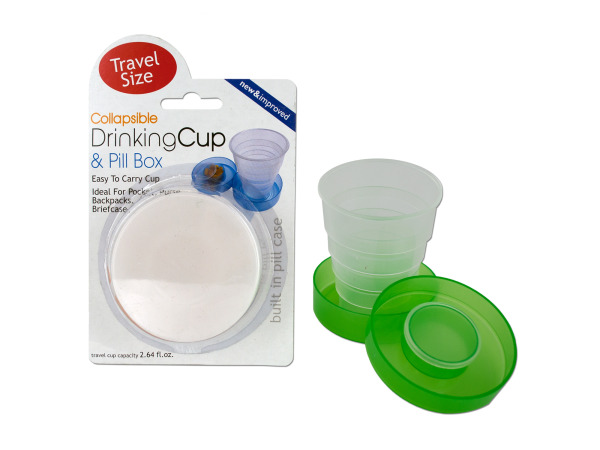 Collapsible Drinking Cup and Pill Box