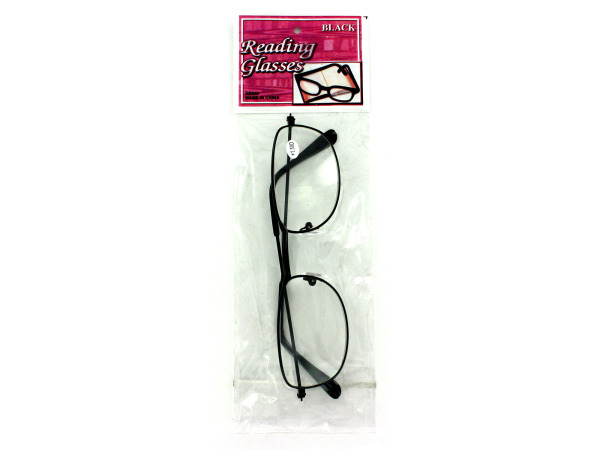 Reading glasses with black metal frame