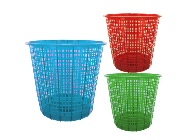 Plastic mesh trash can