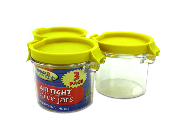 Airtight spice jars, package of 3, assorted colors