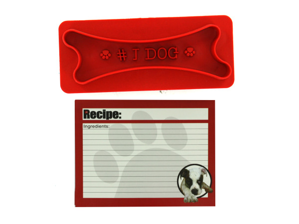 Dog biscuit cutter and recipe gift set