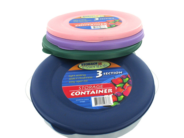 Three-section round storage container with lid (assorted colors)