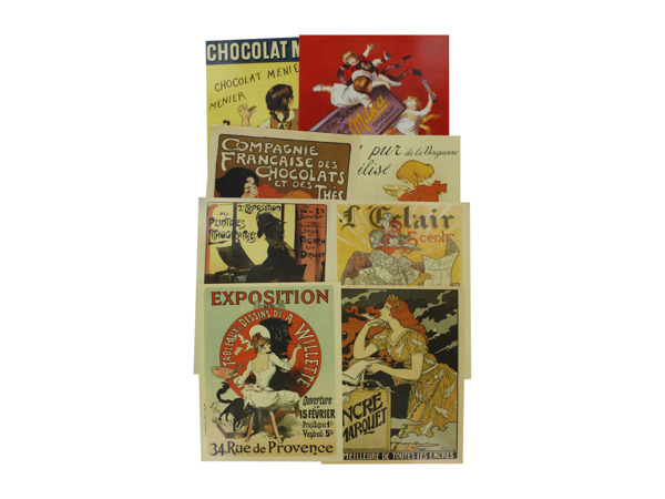 French poster art prints, pack of 4