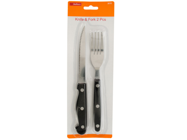 Knife and Fork Set with Black Handles