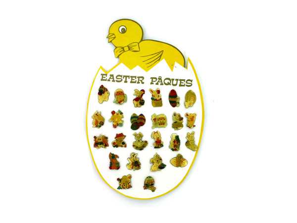 Easter pins, 24 assorted on display card