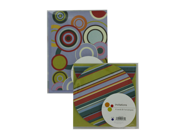 Invitations or announcements, pack of 4, assorted designs