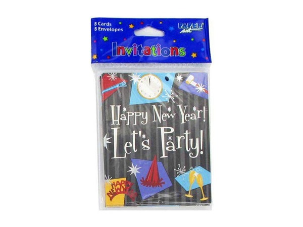 New Year invitations, pack of 8