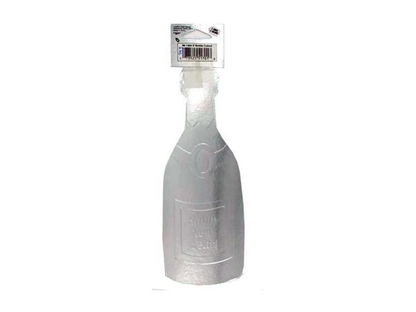 cutout 12 in champagne bottle silver
