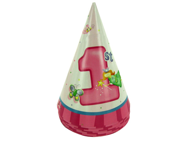 Girl 1st birthday party hats, pack of 8