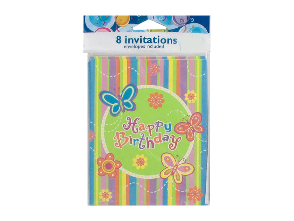 "Colorful butterfly stripe ""Happy Birthday"" party invitations, set of 8"