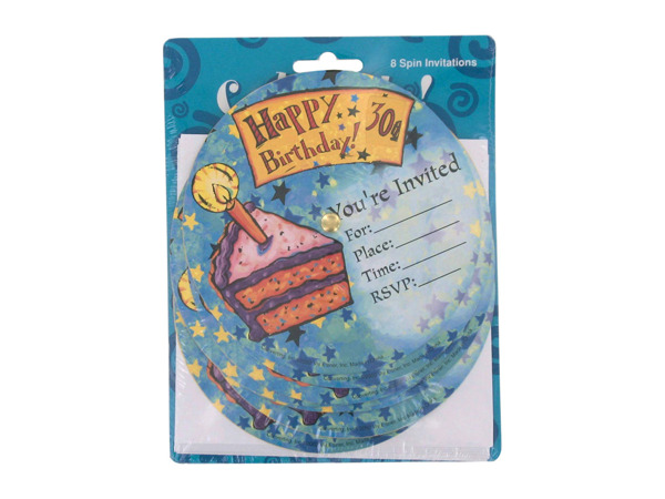 Birthday party invitations, spin for age
