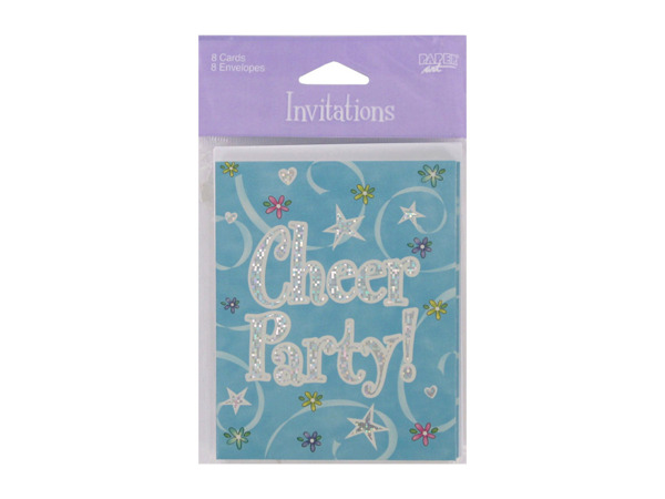 Cheer party invitations, pack of 8