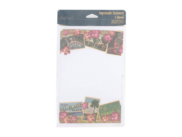 Hawaii imprintable stationery sheets, pack of 8