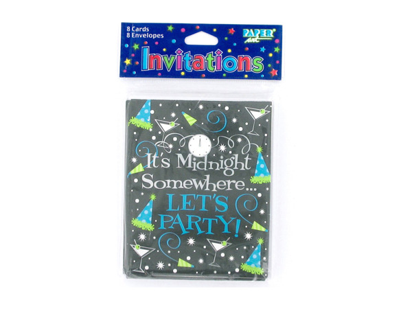"""It's Midnight Somewhere .. Let's Party"" New Year's invitations, pack of 8"