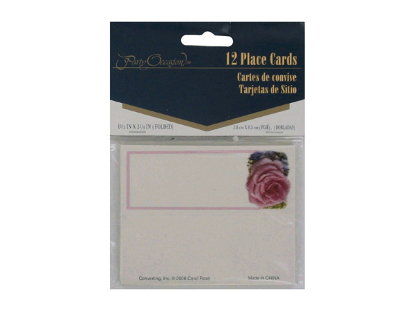 Roses and hydrangea place cards, pack of 12