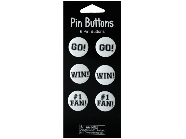 6 pack white pin buttons