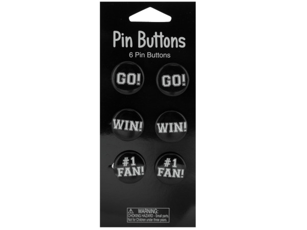 6 pack black pin buttons