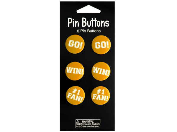 6 pack yellow pin buttons