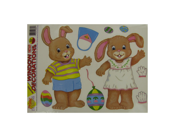 Dress-up Easter bunny window clings