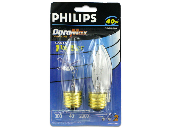 Deco fan light bulbs, 40 watt, 2 pack