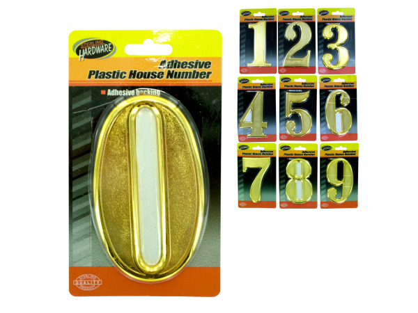 Plastic house numbers with adhesive back