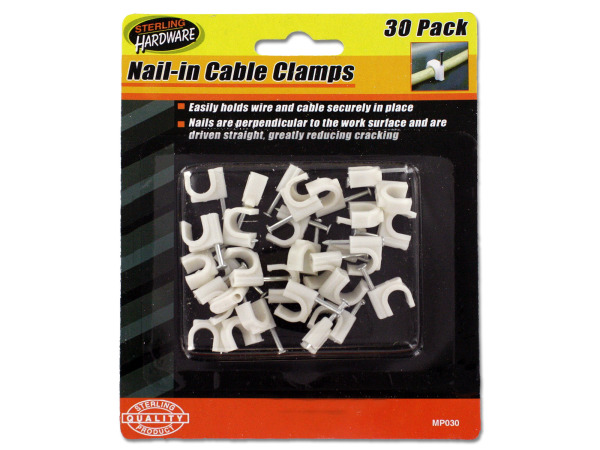 30 Pack nail-in cable clamps