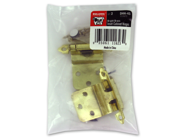 Cabinet hinges, pack of 2, brass