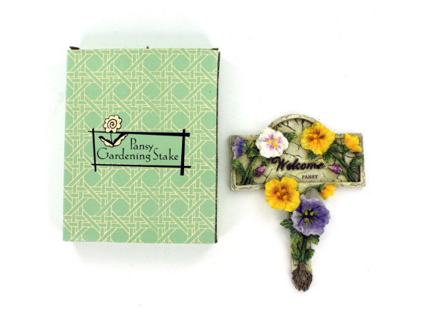"Pansy ""Welcome"" garden stake"