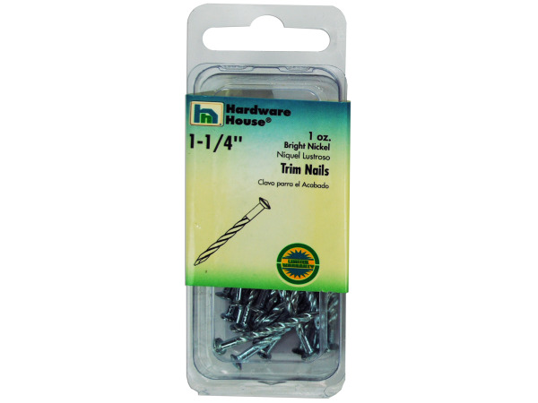 Trim nails, bright nickel, 1 ounce