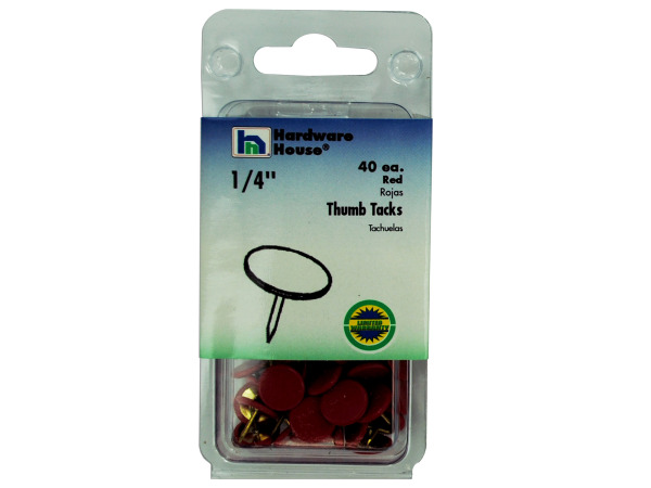 Red thumb tacks, pack of 40